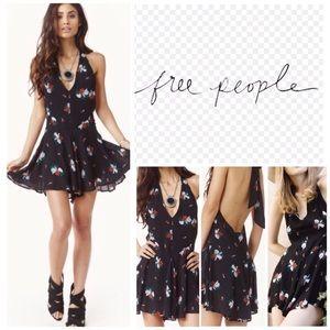 Free People Black Floral Halter Romper